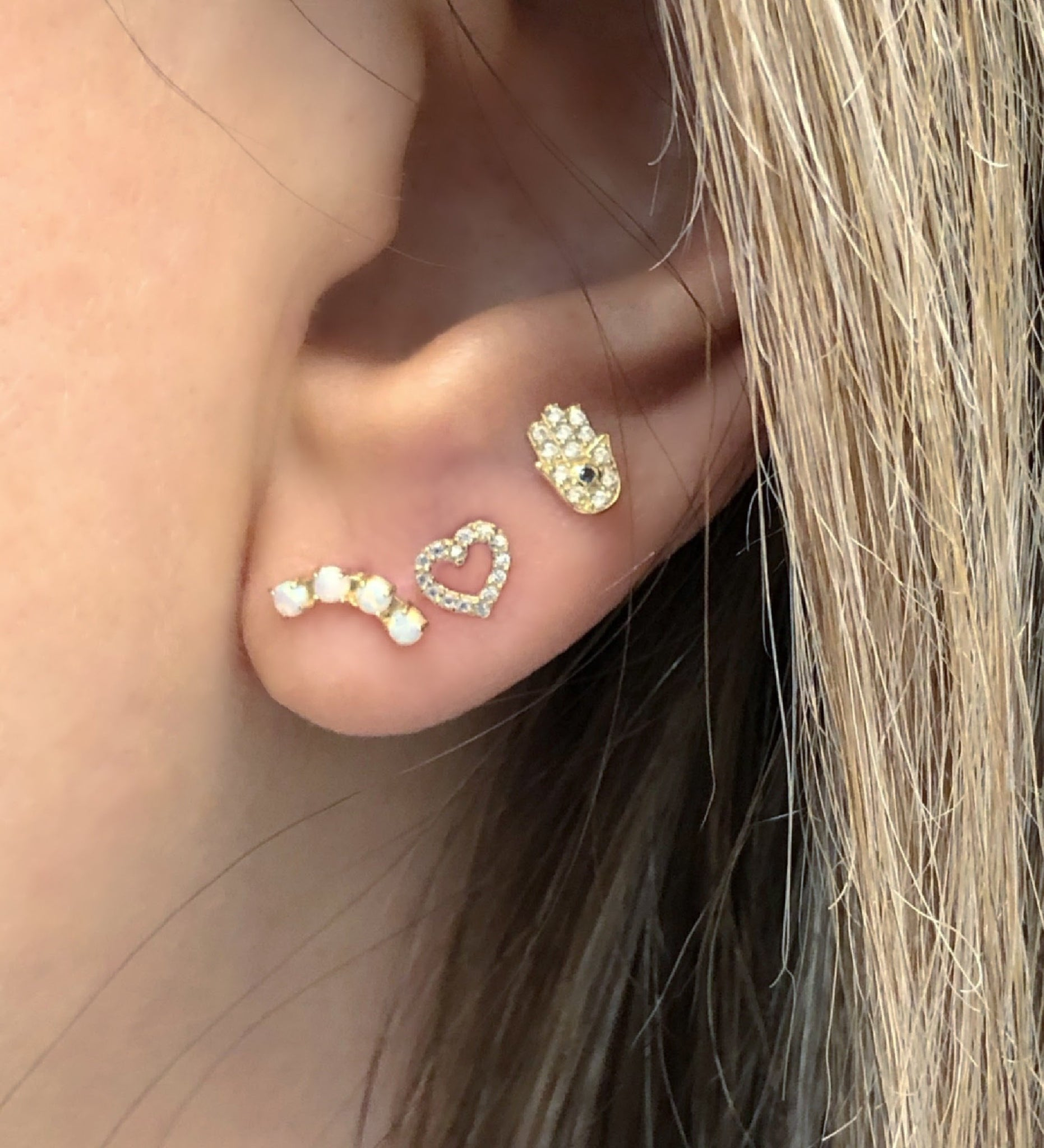 Hamsa Earring on Ear | Piercing Earrings | Solid Gold Hypoallergenic Jewelry | Helix, Tragus, Cartilage | Two of Most Fine Jewelry
