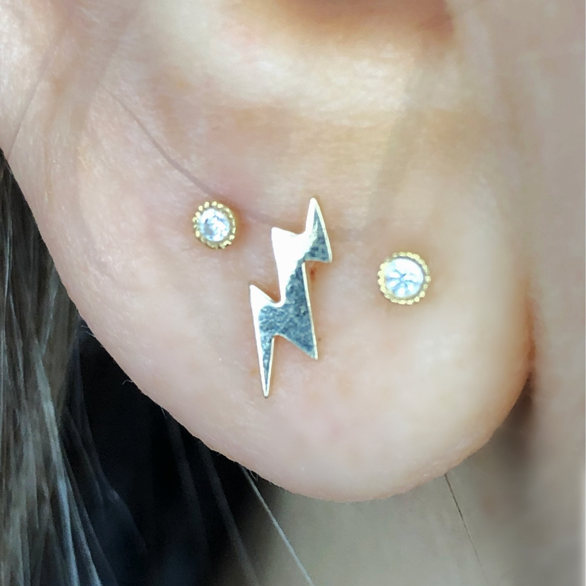 Lightning Bolt Stud Earring on Ear | Screw Back Earrings | Solid Gold Hypoallergenic Jewelry | Helix, Cartilage | Two of Most Fine Jewelry