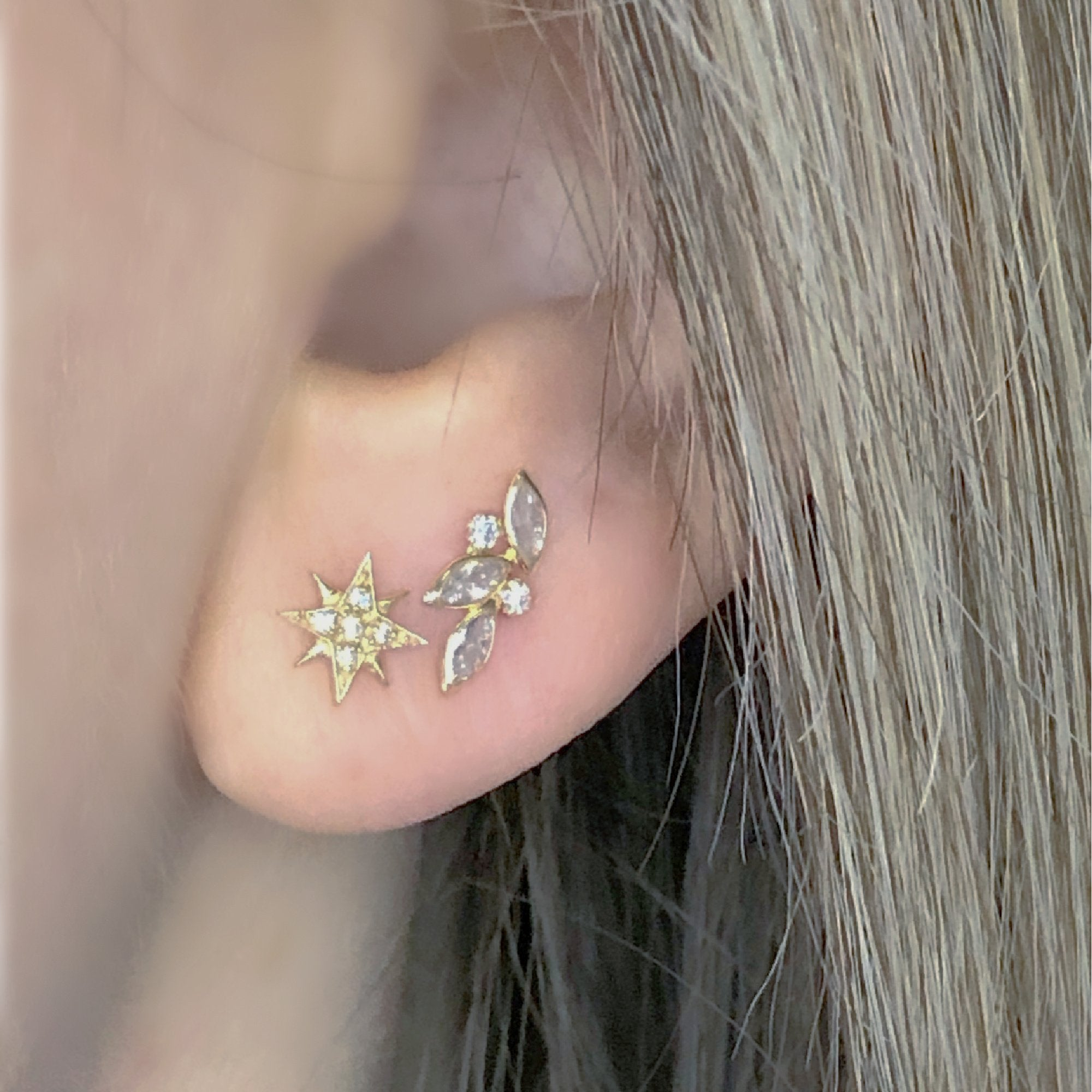 Abstract Stud Earrings on Ear | Push Back Earrings | Solid Gold Hypoallergenic Jewelry | Helix, Cartilage | Two of Most Fine Jewelry