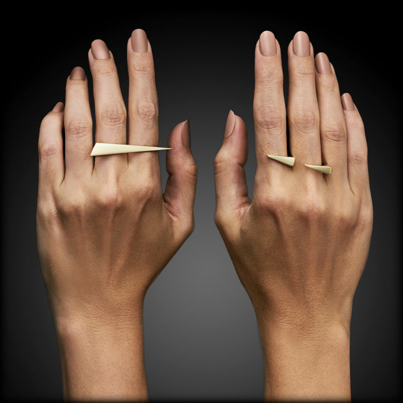Two of Most Two Finger Spike Gold Ring Set
