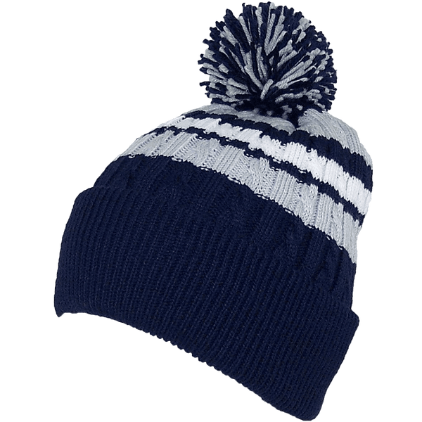 BWH Quality Cable Knit Cuffed Winter Hat W-Large Pom Pom  e3c9e131279
