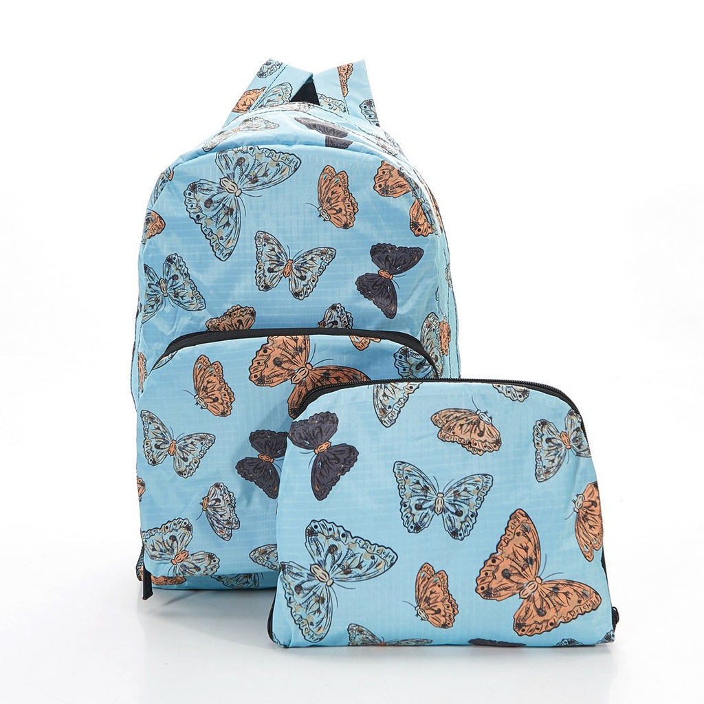 Light Blue Butterflies Foldable Backpack