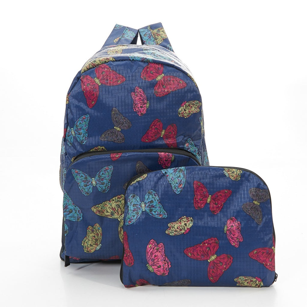 Navy Butterflies Foldable Backpack