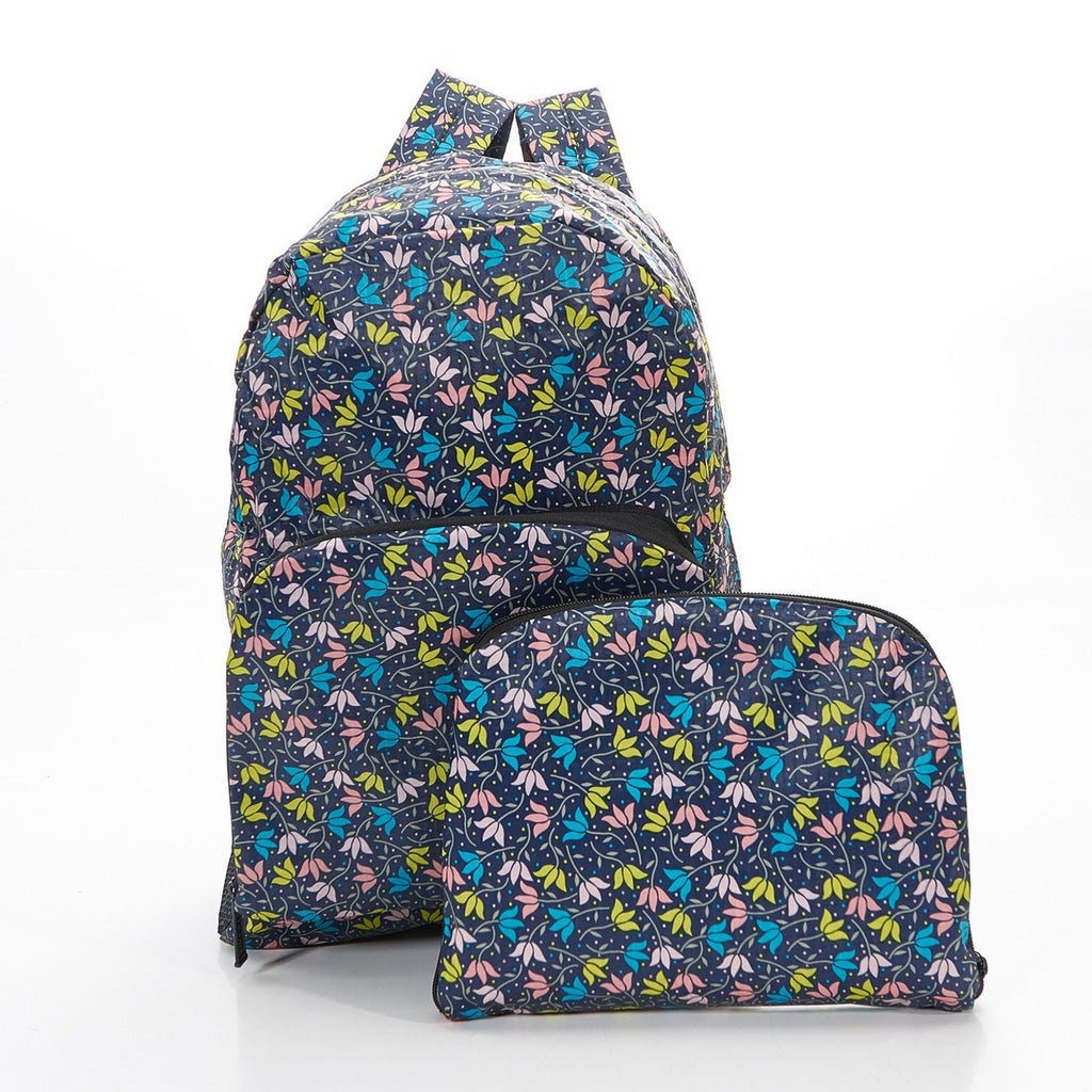Black Ditsy Doodle Foldable Backpack