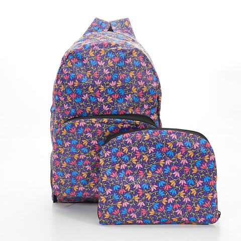 Purple Ditsy Doodle Foldable Backpack