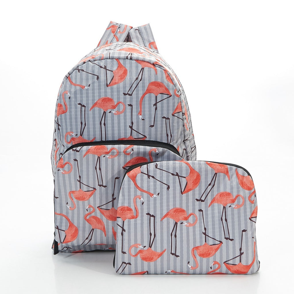 Grey Flamingo Foldable Backpack