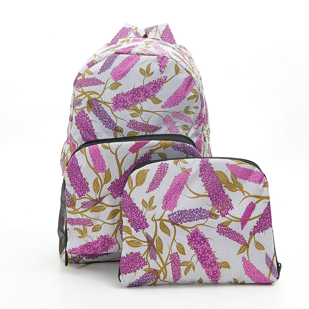 Grey Buddleia Foldable Backpack