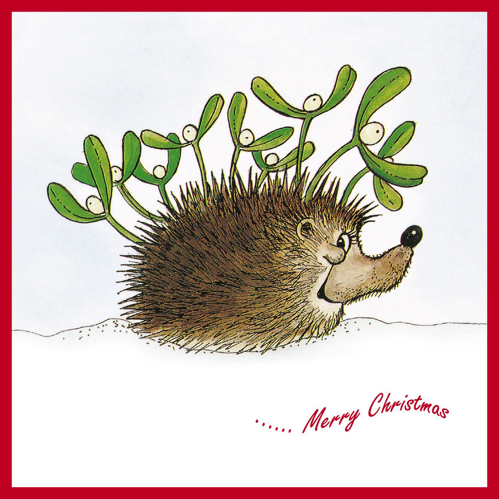 Mistletoe and Hedgehog Christmas Card