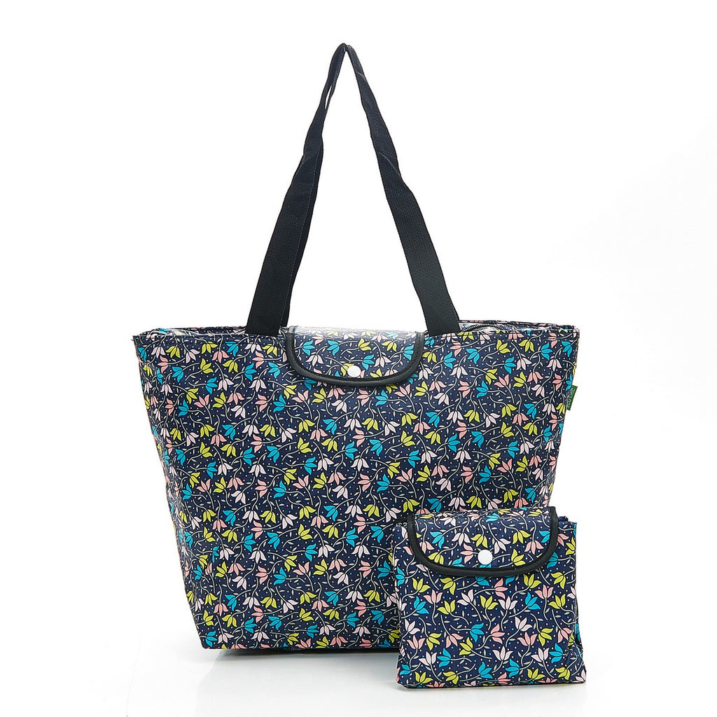 Black Ditsy Doodle Foldable Large Cool Bag