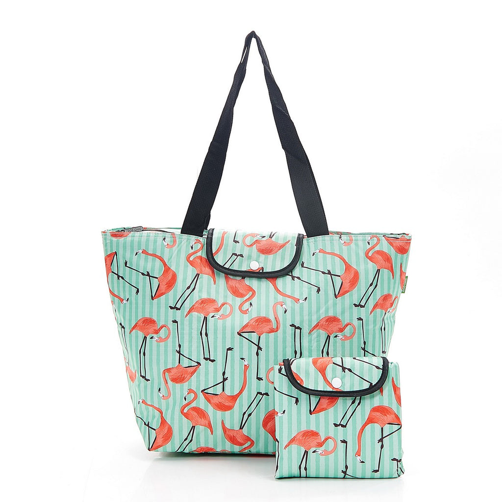 Green Flamingo Foldable Large Cool Bag
