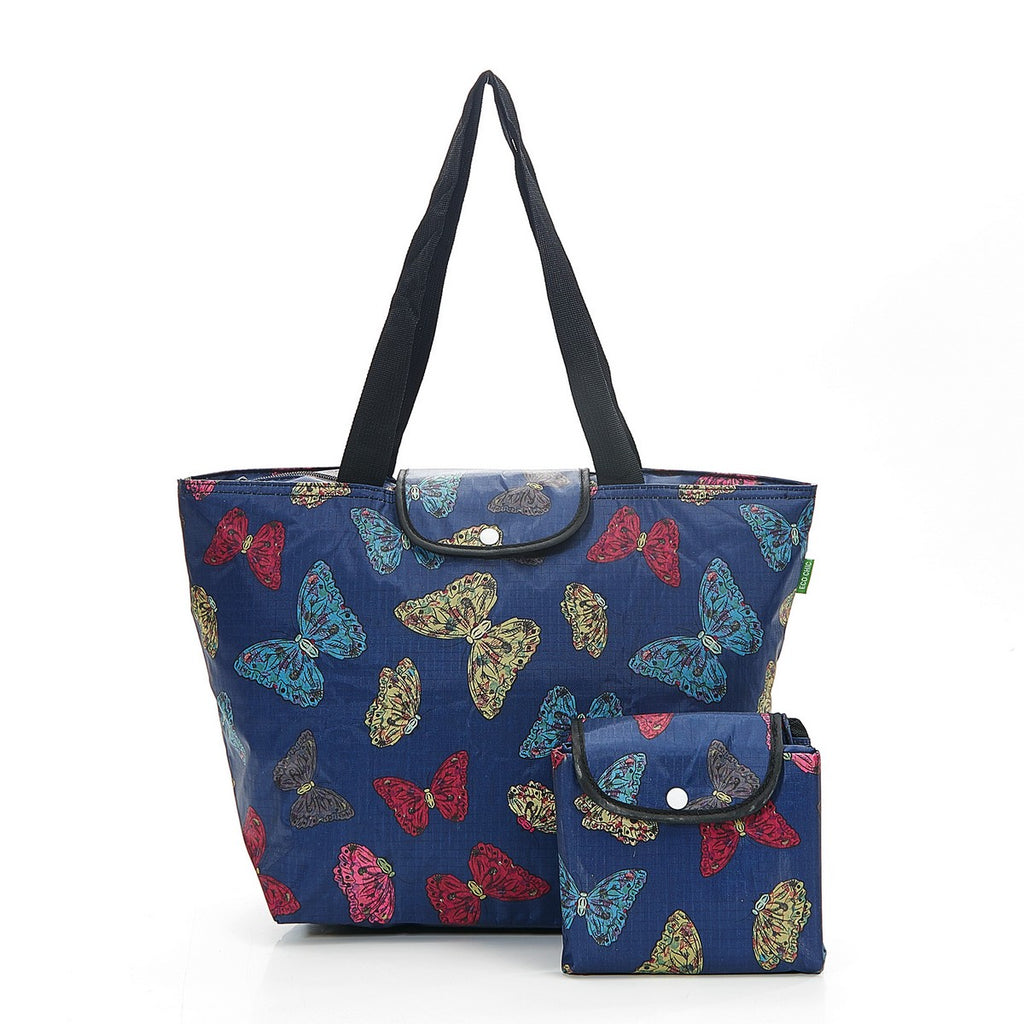 Navy Butterflies Foldable Large Cool Bag