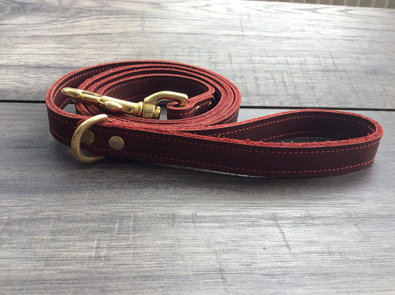 Handmade Leather Red Dog Lead
