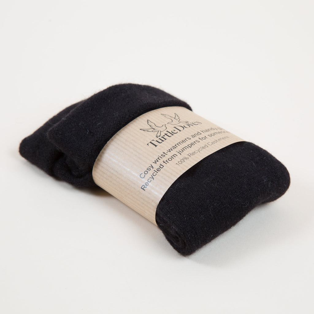 Turtle Doves Classic Black Cashmere Fingerless Gloves