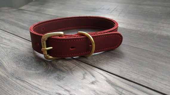 Handmade Leather Large Dog Collar Red