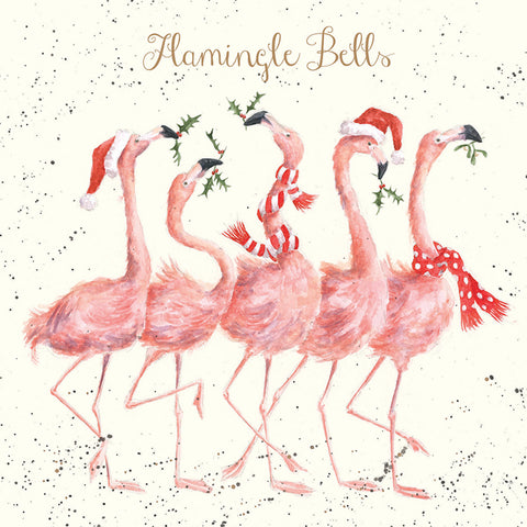 'Flamingle Bells' Single Christmas Card
