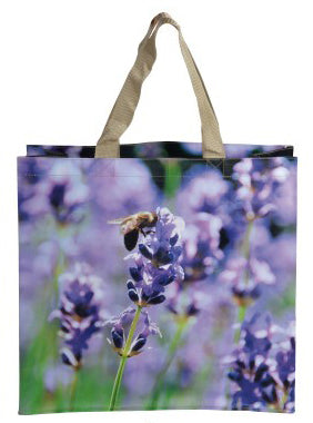 Bee on Lavender Nature Print Shopping Bag