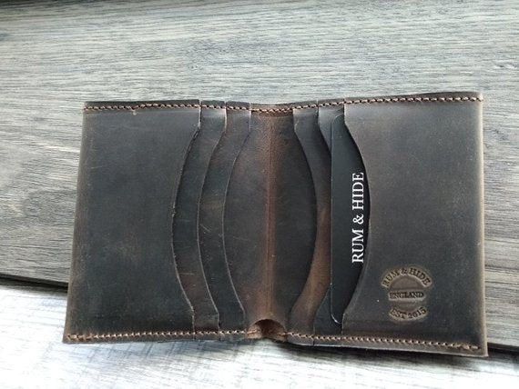Handmade Leather Slim Bio-fold Wallet Brown