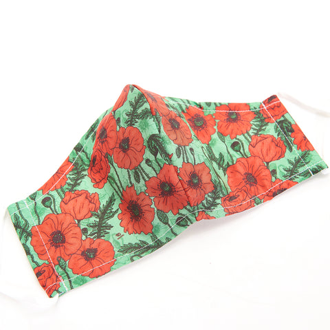 Eco Chic - Green Poppies Face Cover