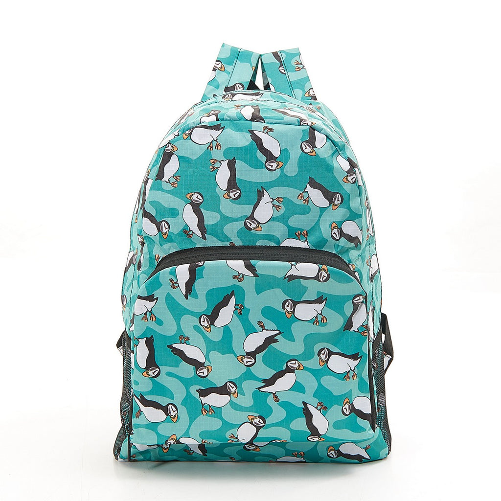 Eco Chic Blue Puffin Foldable Rucksack