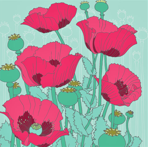 Umbellifer Poppy  greeting card