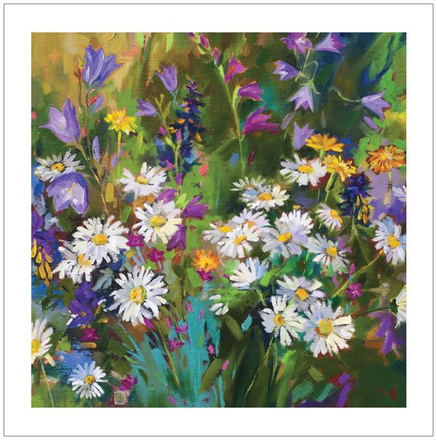 Ling Greeting Card - Daisies in the Garden