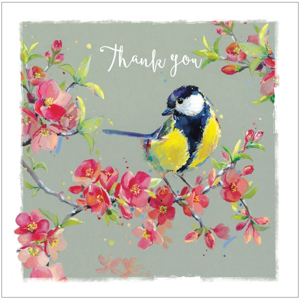 Ling Greeting Cards - Great Tit on Quince Blossom