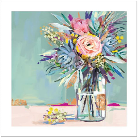 Ling Greeting Card - Jar of Flowers