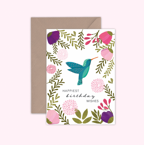 Emma Bryan Greeting Card - Birthday Hummingbird