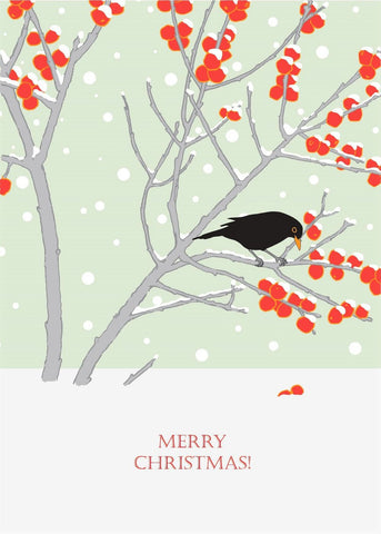 Umbellifer Single Christmas Card - Blackbird and Crabapples