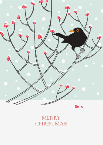 Umbellifer Single Christmas Card - Blackbird and Berries