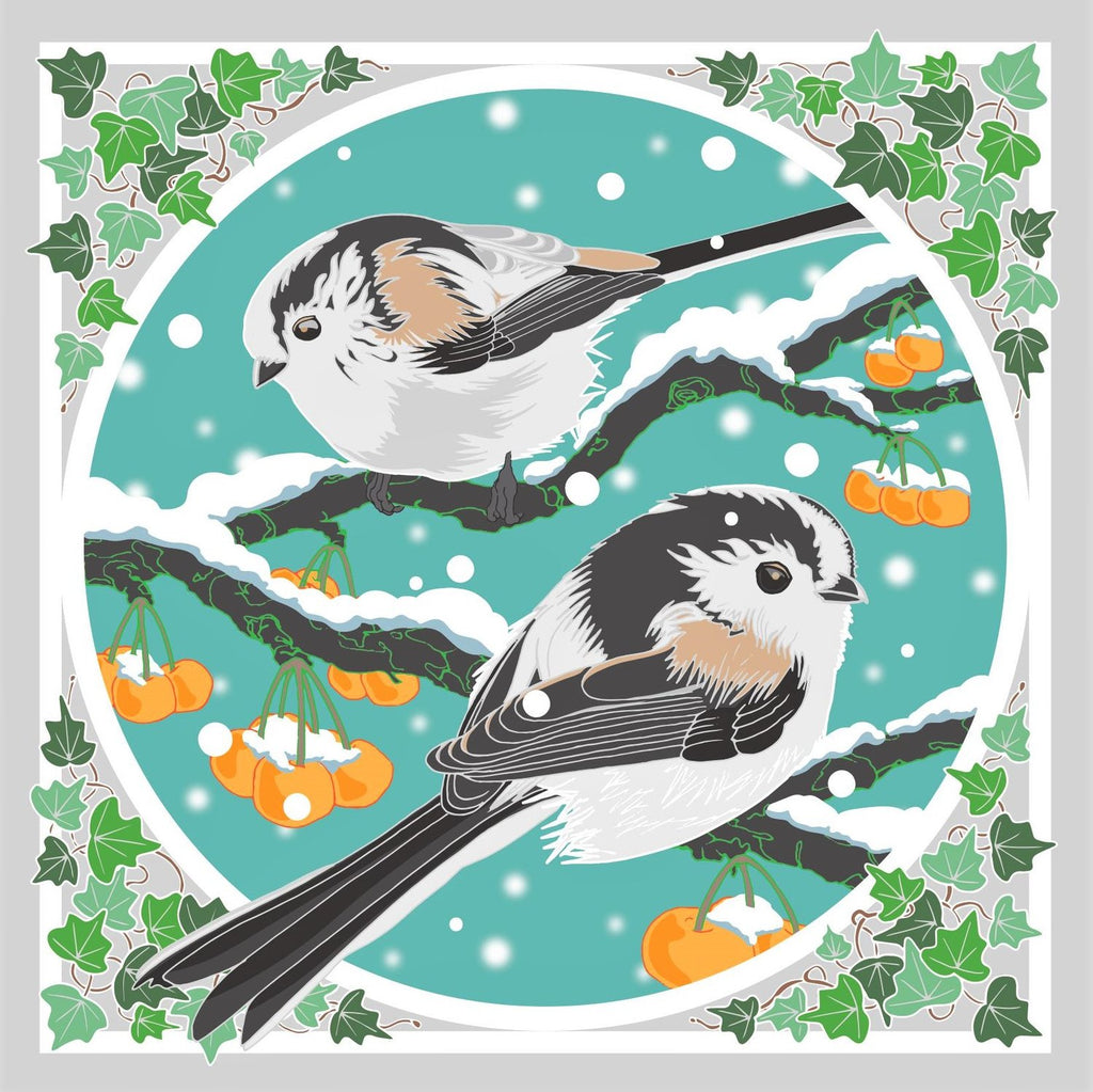 Umbellifer Single Christmas Card - Long Tailed Tits & Crab Apple