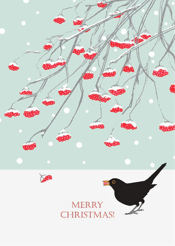 Umbellifer Single Christmas Card - Blackbird and Rowan Berries