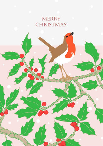 Umbellifer Single Christmas Card - Robin and Holly