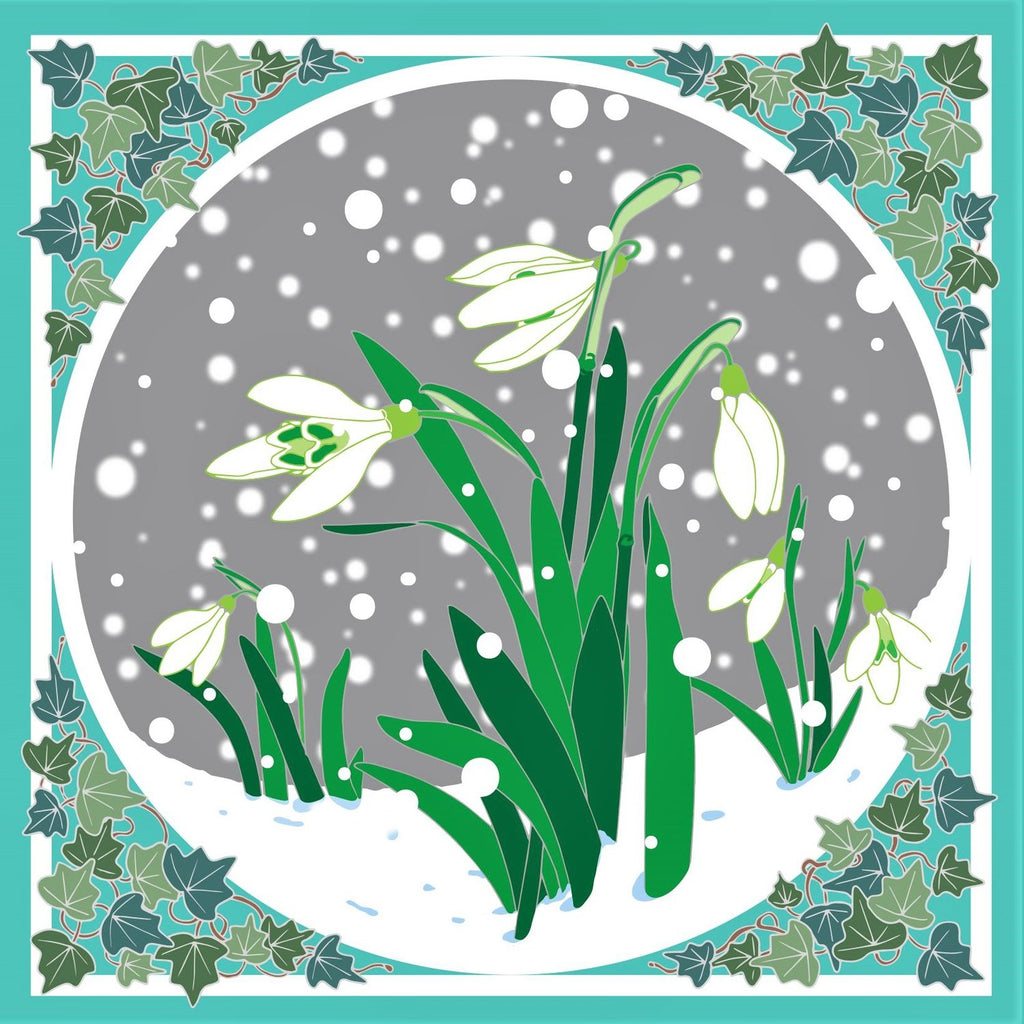 Umbellifer Single Christmas Card - Snowdrops with Ivy