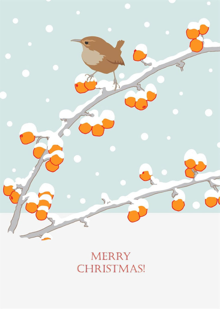 Umbellifer Single Christmas Card - Wren and Berries