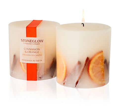 Stoneglow Cinnamon and Orange Pillar Candle