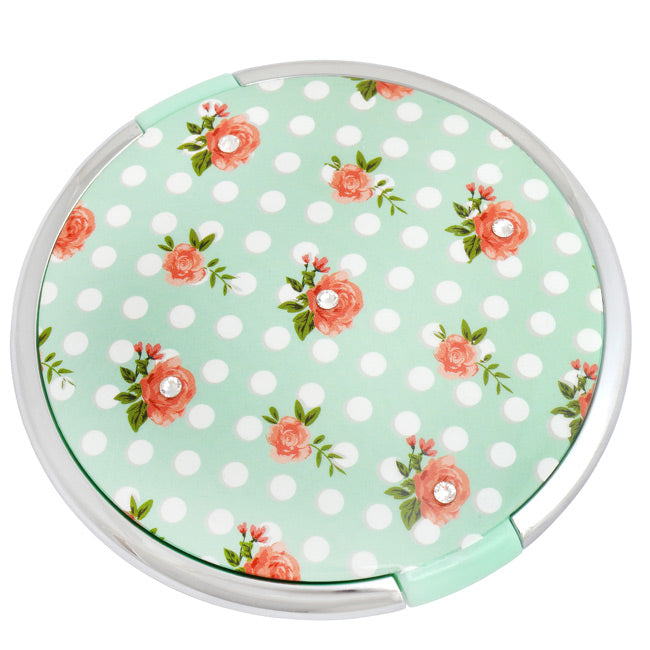 Compact Mint and Rose Mirror With Swarovski Elements