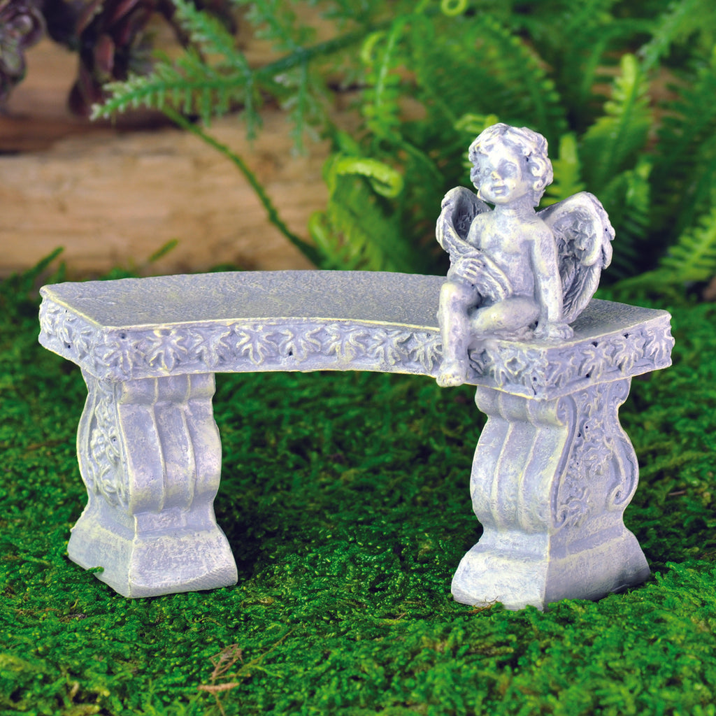 Fiddlehead Curved Bench with Cherub