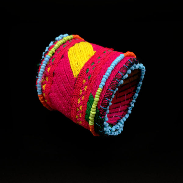 Beaded Ethnic Embroidered Bracelet- Fire