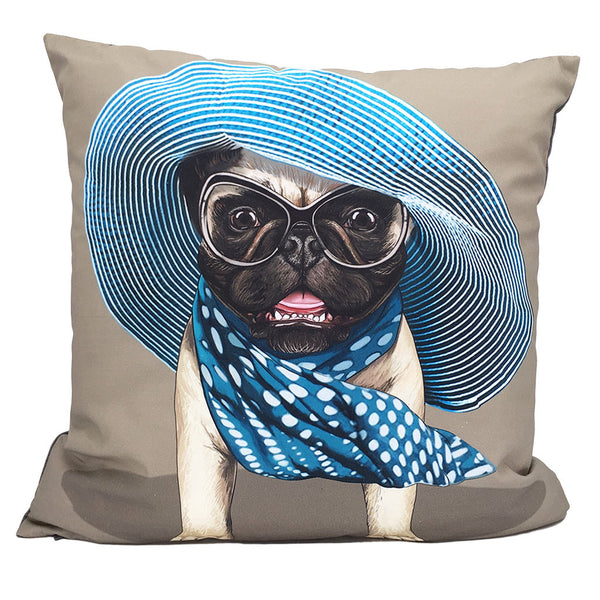 Home Addictions: Cushion Covers - Lady Blue Pug Cushion Cover, by  Culture Club
