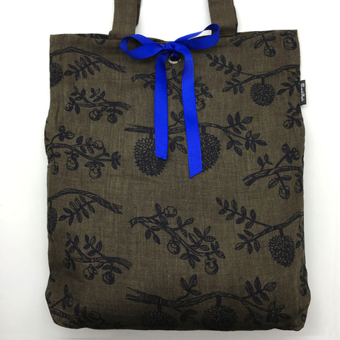 Home Addictions: Lifestyle - 100% Linen Tote Bag - Durian & Mangosteen - Grey Black w/Blue Ribbon, by  Thurian and Mangkhut