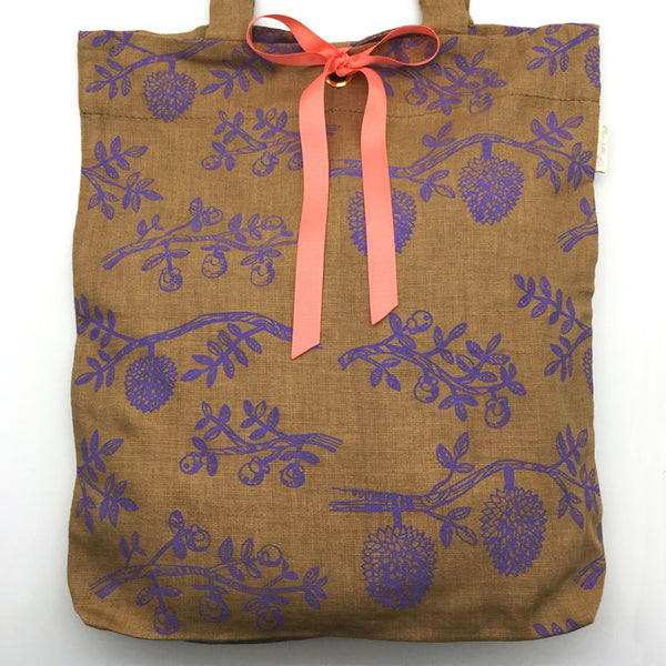 Home Addictions: Lifestyle - 100% Linen Tote Bag - Durian & Mangosteen -Latte/Mauve w/Peach Ribbon, by  Thurian and Mangkhut