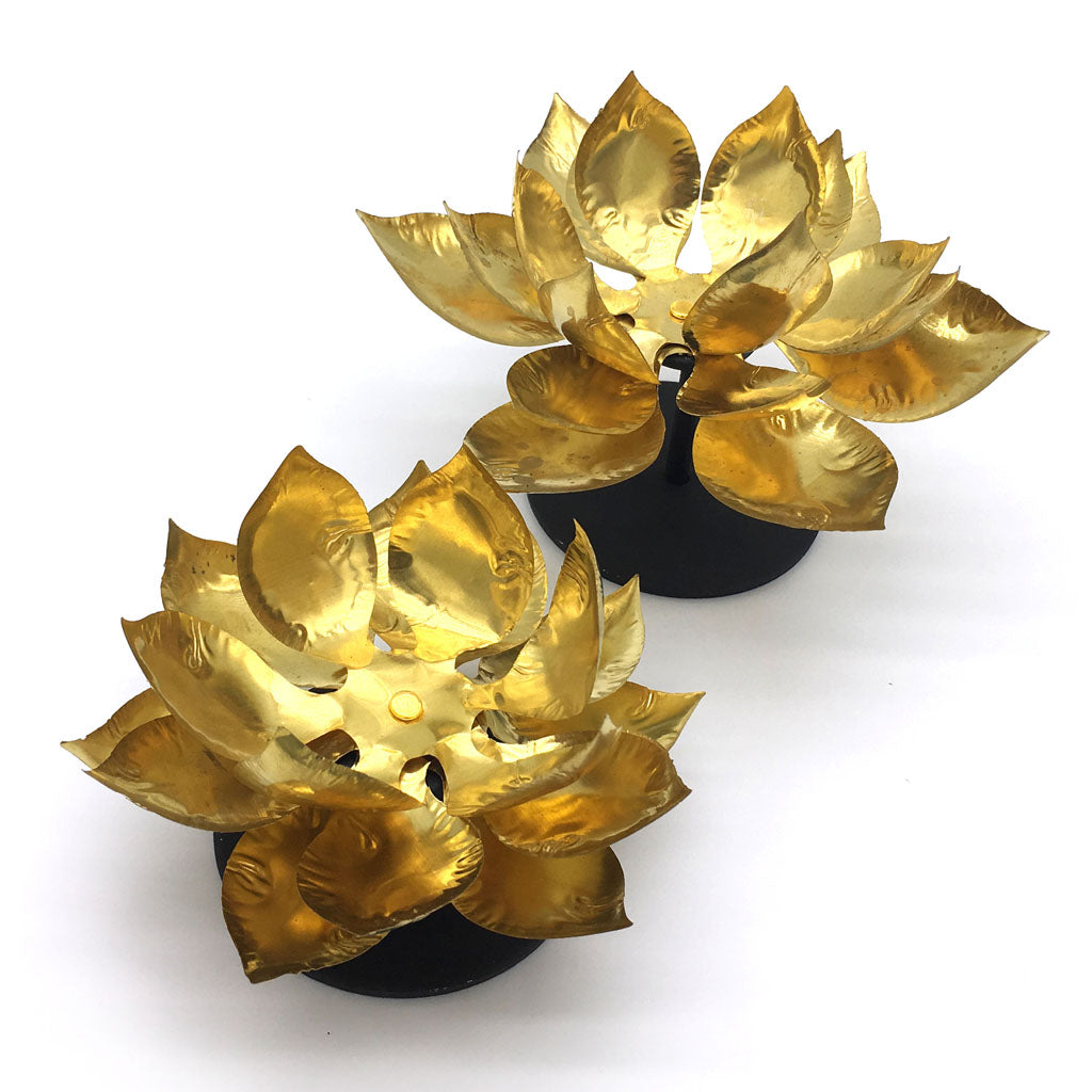 Brass Lotus Flower Candle Holder On Metal Base L Home Addictions