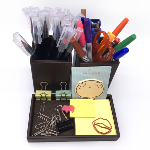 Home Addictions: Lifestyle - Faux Brown Leather Pen Holder and Tray Set, by  Home Addictions