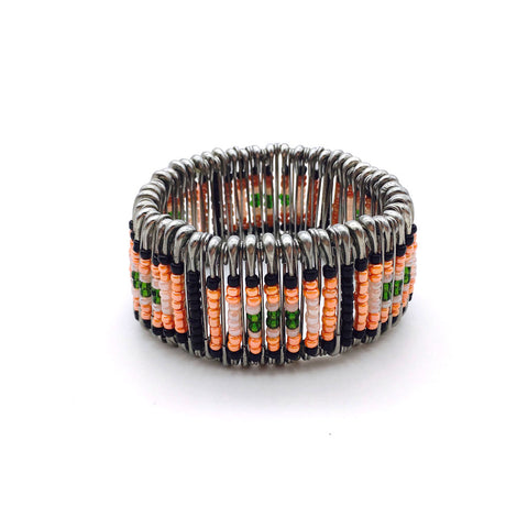 Home Addictions: Lifestyle - Saftety Pin Bracelet- Prawn color squares, by  Siam Care