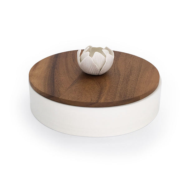 Home Addictions: Baskets & Boxes - Round Teak Wood Box & Ceramic Flower (Large), by  Kiddee Tamdee