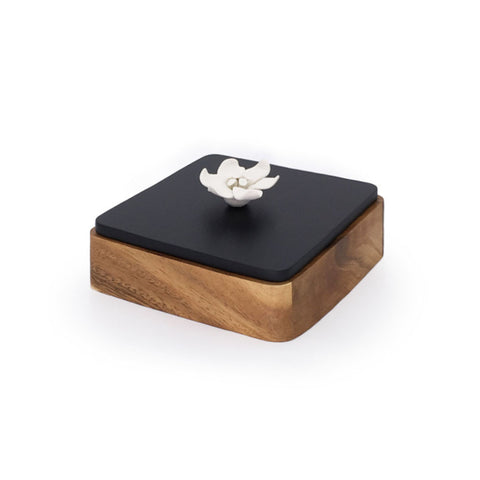Home Addictions: Baskets & Boxes - Square Teak Wood Box & Ceramic Flower (Small), by  Kiddee Tamdee