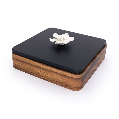 Home Addictions: Baskets & Boxes - Square Teak Wood Box & Ceramic Flower, by  Kiddee Tamdee
