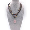 Large Rose Quartz Pendant Necklace