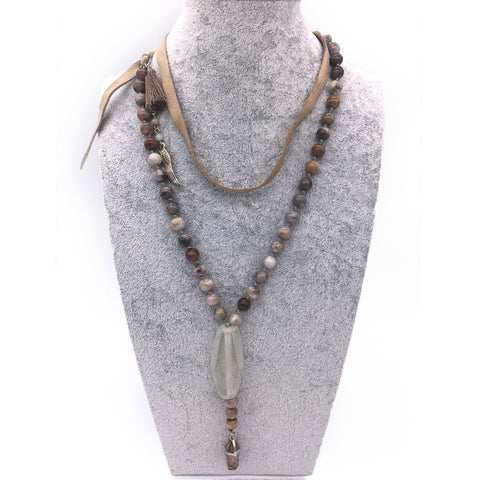 Jasper and Sandwashed Glass Bead Necklace